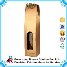 Boîte faite sur commande d'emballage de vin de papier de carte de Gloden de vente chaude avec la corde de coton