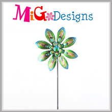 New Arrived Kinetic Flower Wind Spinner Garden Stake
