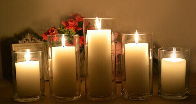 Glass Candles Ivory Pillar Candles