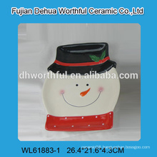 Cute snowman shaped ceramic plate for christmas decoration