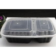Récipient rectangulaire adapté aux besoins du client de nourriture de micro-onde en plastique à 2 compartiments