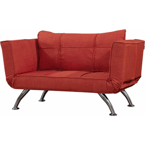 Metal Legs Red Fabric Armchair Sofa Bed