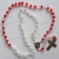 Vermelho misturado branco cristal grânulos rosário cadeia com Centerpiece, religiosa Cruz cadeia
