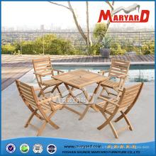 100% твердой древесины Садовая мебель, складные стулья из тикового дерева & обеденный стол