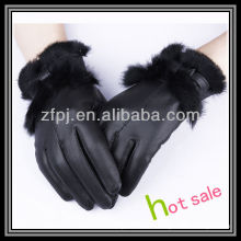 Neue Art Dame Tragen Waschbär Haarstulpe Leder Handschuhe