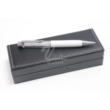 Pluma de cristal del artículo del regalo del metal blanco con la caja de regalo
