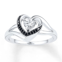 Black CZ Heart Diamond Wedding Ring 925 Sterling Silver Jewelry