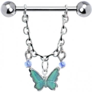 Aqua Gypsy Schmetterling Kette Tropfring Nippel