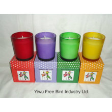 Multi-Colored 100% Healthy Scented Soy Wax Glass Candle