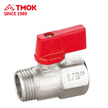 Male*Female thread Plate with nickel or nature color High quality brass ball valve with brass stem ball body and PTFE