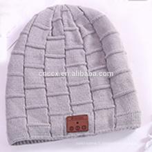 PK18ST012 en gros laine cachemire bonnet bonnet tricoté avec des écouteurs sans fil