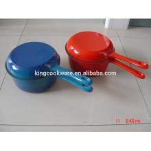 Sartén doble de esmalte de hierro fundido / asador con tapa