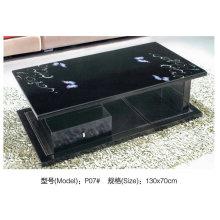 Современный стеклянный столик с кожи и МДФ (P07)