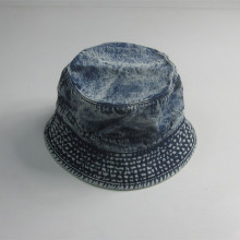 Vintage Washed Denim Sombrero en blanco del cubo