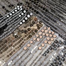 Schwarzer Strick Metallic Paillette Metall Gold Pailletten Mesh Stickerei Stoff