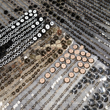 Black Knit Metallic Paillette Metal Gold Sequin Mesh Embroidery Fabric