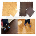 Non-toxic Fun play eva foam wood grain floor mat with edges