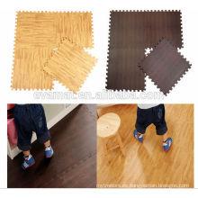 Estera de piso de grano de madera de la espuma del juego de la diversión eva no tóxica con los bordes