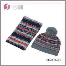 2015 Winter Fashion Children Acrylic Jacquard Scarf and Hat Suit