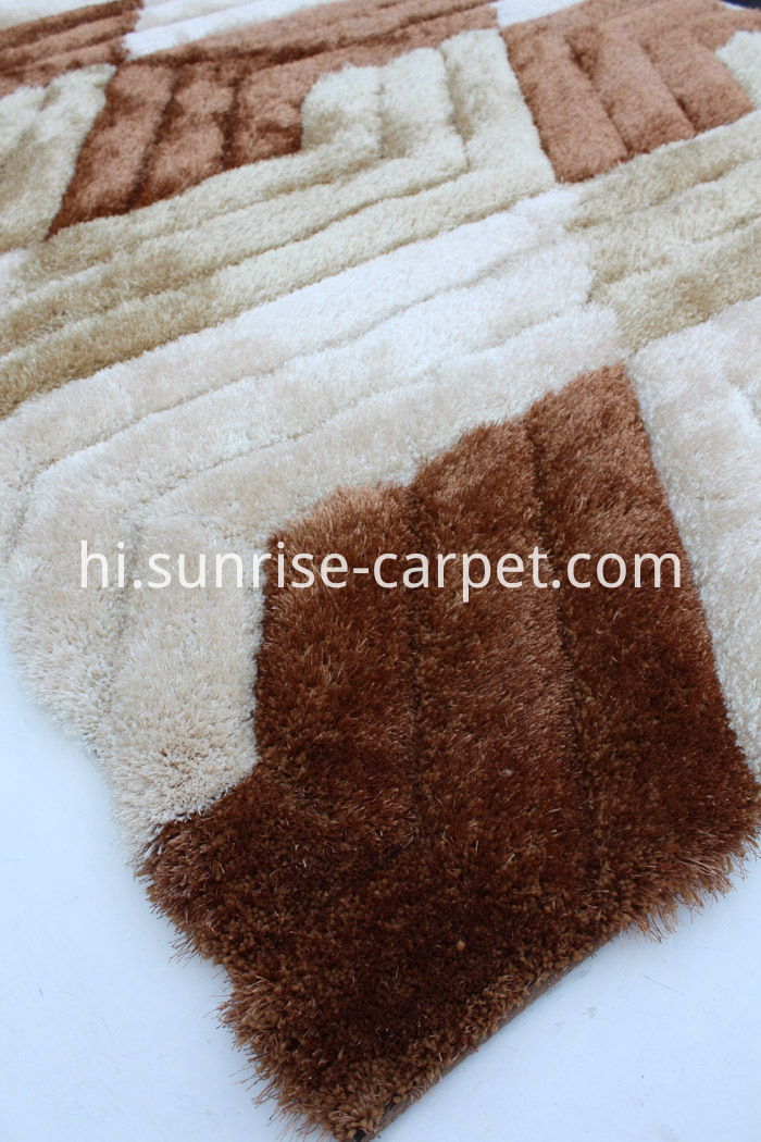 Home Carpet 3d Shaggy Rug Brown Beige Color