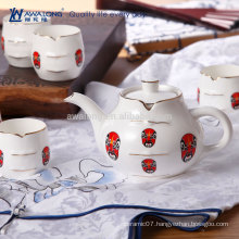 7pcs Unique Design Facial Makeup Pattern Japanese Porcelain Tea set