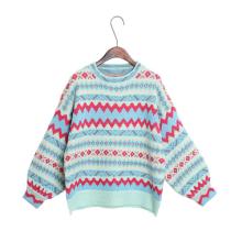 Suéter de punto con cuello redondo de invierno para mujer