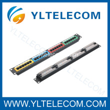 1U 19 pouces 24port(4*6) type de couleur Patch Panel CAT 5e et Cat.6