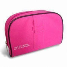 Fabric Cosmetic Bag with Zipper Pocket and Piping, Made of 600D Polyester