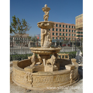 Large Size Yellow Lion Water Fountain