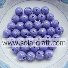 Factory Supply Factory price for disco ball spacer beads Low Price Purple Color Imitation Round Disco Dot Beads For Jewelry 5MM supply to Grenada Supplier