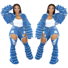 Trending Stylish 2021 Fall Autumn Women Two Piece Jean Set Hollow out Blue Jean Stack Flare Pants