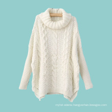 15JWT0122 woman cotton blend turtleneck cable knit sweater