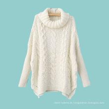 Camisola da malha do cabo da gola alta da mistura do algodão 15JWT0122 da mulher