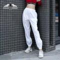 Уличная мода мода белый высокая эластичная талия свободные брюки йоги женщины свободного покроя