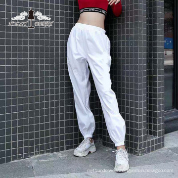 Streetwear Fashion White High Elastic Waist Loose Yoga Pants Women Casual
