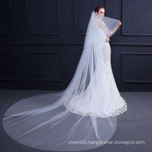 Fashion High quality plain long wedding veil  lace