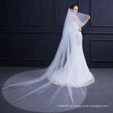 Moda Renda longa lisa de véu de casamento de alta qualidade
