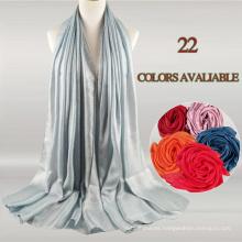 2017 último estilo de moda larga larga bufanda musulmán hijab bufanda del hijab de color puro de la gasa