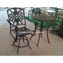 Jardín de Metal fundido aluminio muebles al aire libre de muebles de Bar taburete conjunto