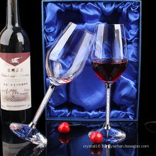 High Quality Customized Promotion Gift Diamond Crystal Red Wineglass