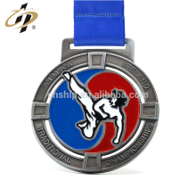 Antique silver custom zinc alloy metal karate championship medal with kick design