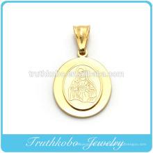 Venda quente de Alta Qualidade Banhado A Ouro de Aço Inoxidável Abençoado Virgem Maria Duas Camadas 14 K Pingente Projetado para Colar de Rosário