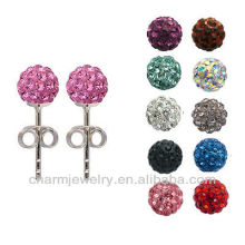 Sterling silver Shamballa earrings handmade clay bead Stud earrings EC-005