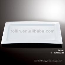 modern white rectangular rim porcelain plates