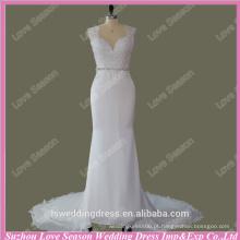 RP0088 Casaco com decalque de jóias com decote fitched cristais destacáveis cinto vestido evading vestido de casamento 2015 vestido de casamento de amostra real