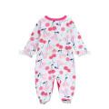 2017 new design baby girls romper jumpsuit strawberry printed long sleeve winter romper baby