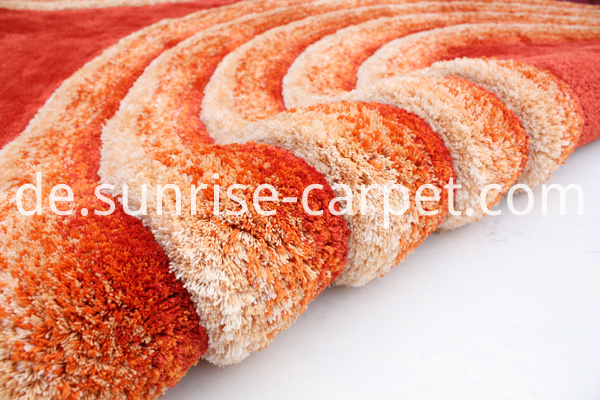 Microfiber 3D Shaggy Rug with Orange Color
