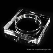 Cendrier en verre de cristal carré de K9 pour la décoration de bureau