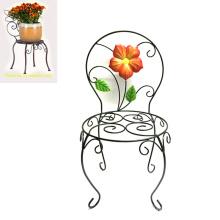 Venta al por mayor Jardín Decoración Metal Linellae Chair Flowerpot Stand