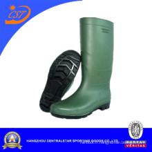 Bottes de PVC de haute injection de genou de vert de mode 66712